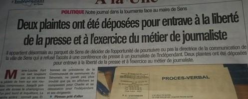 L'indépendant de l'Yonne porte plainte contre Marie Louise FORT